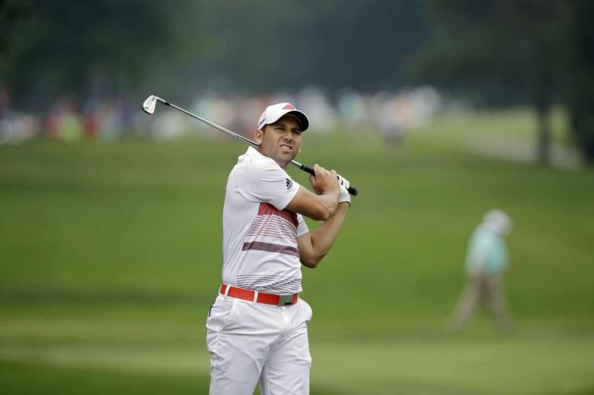 Sergio García on the ninth hole during the third round of the Bridgestone Invitational on Saturday in Akron, Ohio.