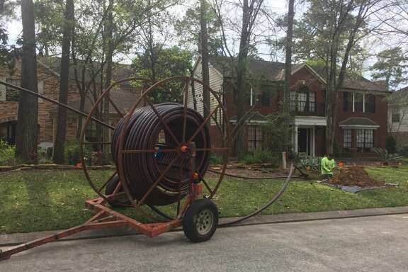 AT&T is installing new fiber-optic cable to improve service to customers in various parts of The Woodlands. The digging associated with it is taking place in utility easements.
