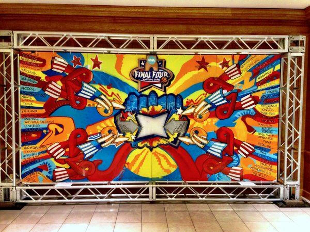 This Final Four bracket was created by graffiti artist Gonzo247.The bracket will travel throughout the city of Houston and currently resides at the Houston Galleria, right outside of the Westin Galleria hotel doors on the second floor.