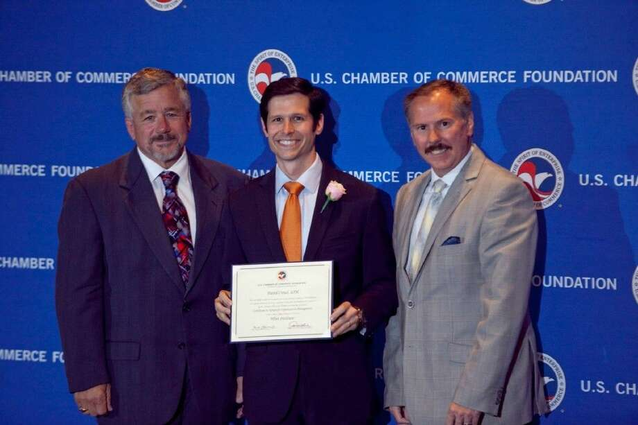 (Left-right) Robert J. Foulks, chief financial officer and Deputy CEO of the Institute for Organization Management (IOM); David Crowl, Fort Bend Chamber of Commerce's director of communications; and IOM Chair Peter Aust. Photo: Photo Courtesy U.S. Chamber Of Commerce