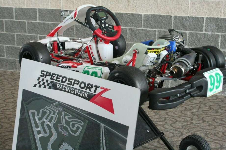 One of the karts that would be used for younger racers at Speedsportz Racing Park in New Caney was on display at the Greater East Montgomery County Chamber of Commerce's The Loop luncheon March 23, 2016.