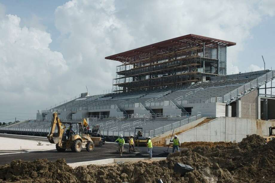 Progress on the new Challenger-Columbia football stadium is at a faster pace now that rains have subsided in the greater Houston area. Photo: KIRK SIDES