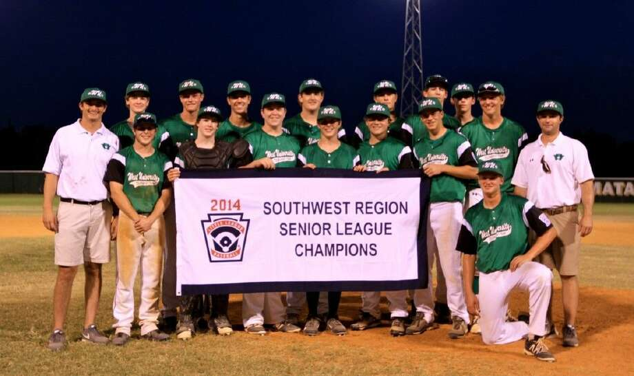 The West University Little League Senior 15-16 team shows off their Southwest Regional championship banner that clinched their berth to the current Senior Little League World Series in Bangor, Maine. The Seniors have won their first three games at the Series to clinch a berth in Friday's semifinals and they will wrap up Pool play 7 p.m. Thursday afternoon against Latin America. The Seniors are attempting to win the World Series for the first time since 2009.