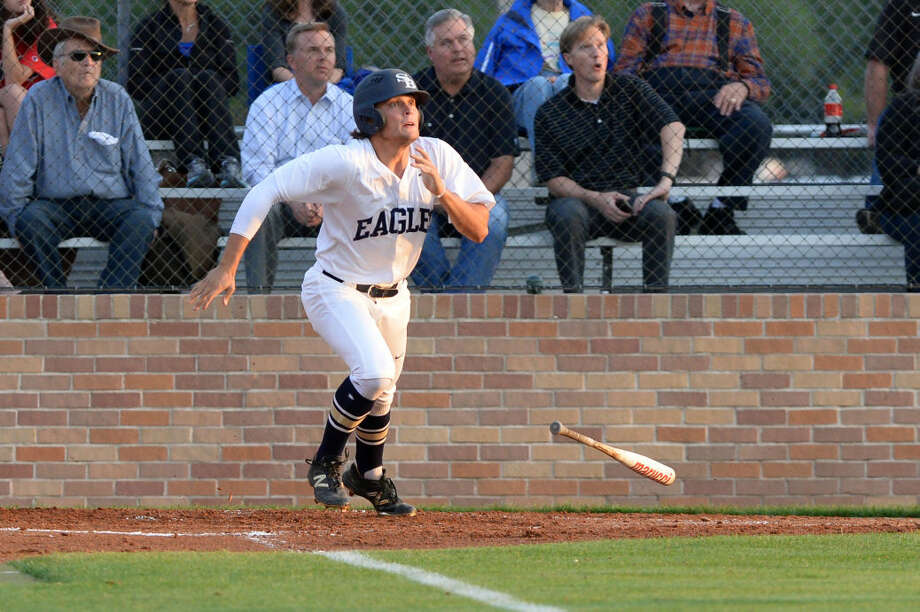 Second Baptist junior Fielding Davis doubled and drove in two runs during an 8-1 non-district victory against Houston Christian, March 28 at Second Baptist School. He hit a three-run home run in the Eagles' previous game, a 13-3 district win against Westbury Christian. Photo: Craig Moseley