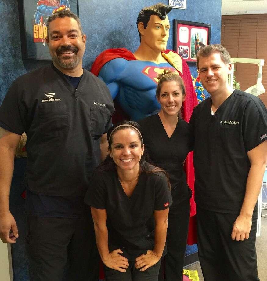 Dr. Hugh Patton; Kim Dybala, RDH; Heather Love, RDA and Dr. Daniel Bove.