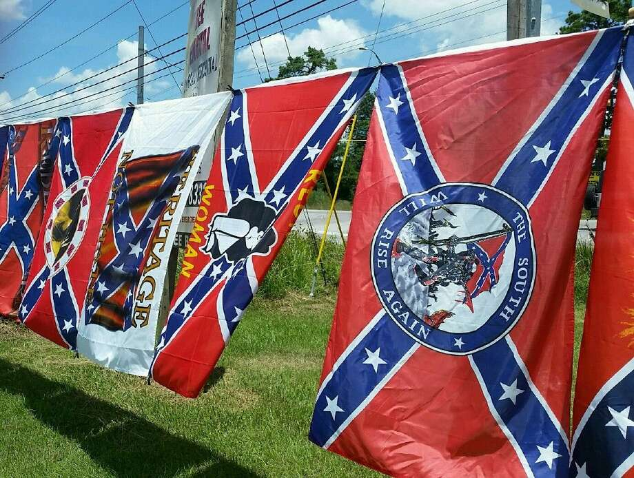 Rebel flags with different emblems on display at Bill's flags in Porter.