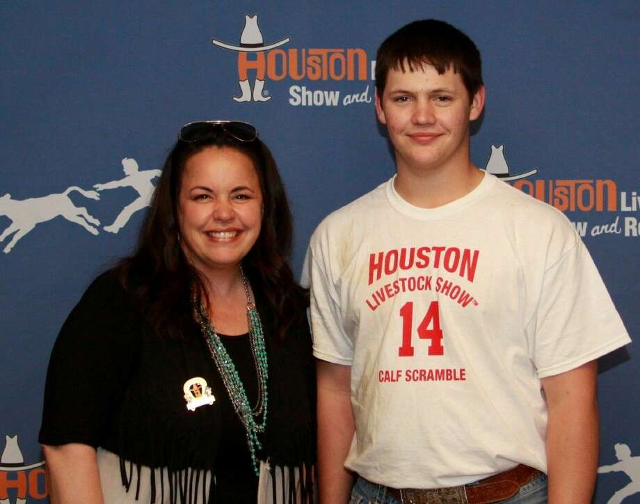 Peyton Ferguson of Coldspring FFA was a winner in the March 16 calf scramble at the Houston Livestock Show and Rodeo. Photo: Submitted