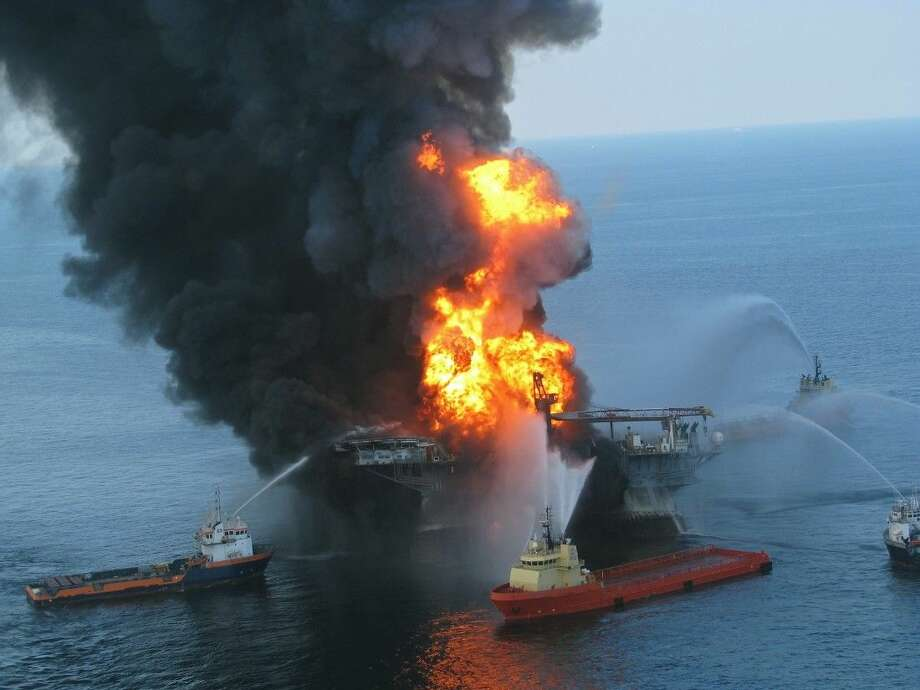The Deepwater Horizon rig burns in the Gulf of Mexico during April of 2010.