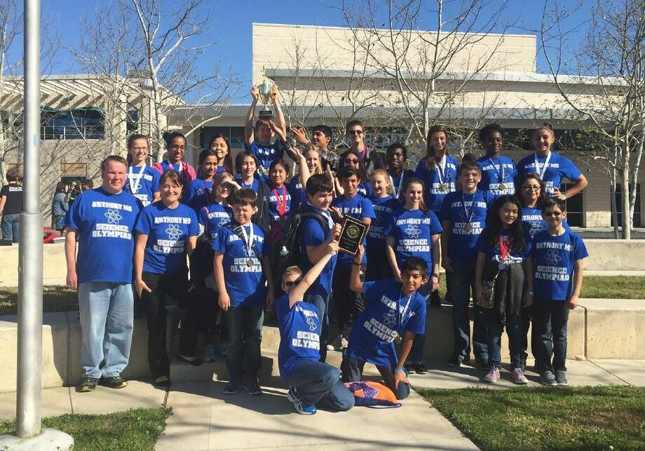 Anthony Middle School students celebrate winning the Gulf Coast Science Olympiad Regional at Lone Star College - CyFair on Feb. 27 to qualify for the Texas Science Olympiad. The Ravens also won the Spirit Award.