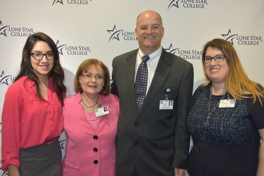From left, Kathy Guerra, Cypress Creek senior; Terrie Shell, Cypress Creek lead counselor; Dr. Mark Henry, CFISD superintendent of schools; and Amber Stephens, Cypress Creek college and career specialist; prepare for the March 23 press conference on dual credit legislation.