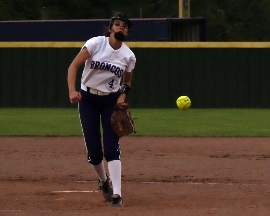 Brooke Austin is shown here pitching at home against Porter, March 22. She recorded five strikeouts in that game, seven against C. E. King on March 24, and four at Barbers Hill on March 29. Photo: Casey Stinnett