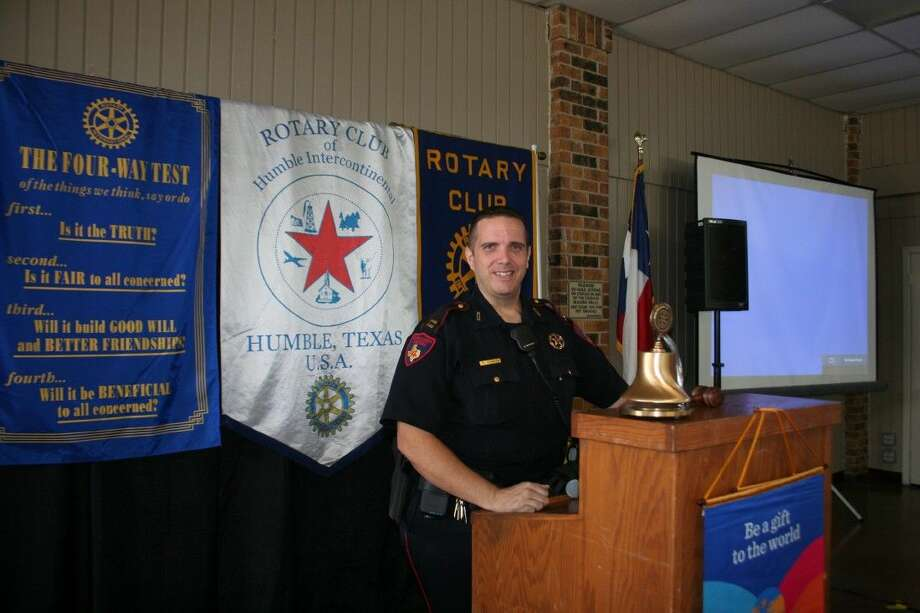 Schultz spoke on behalf of the recently appointed Constable Mark Herman at Humble Rotary Wednesday, July 15, 2015.