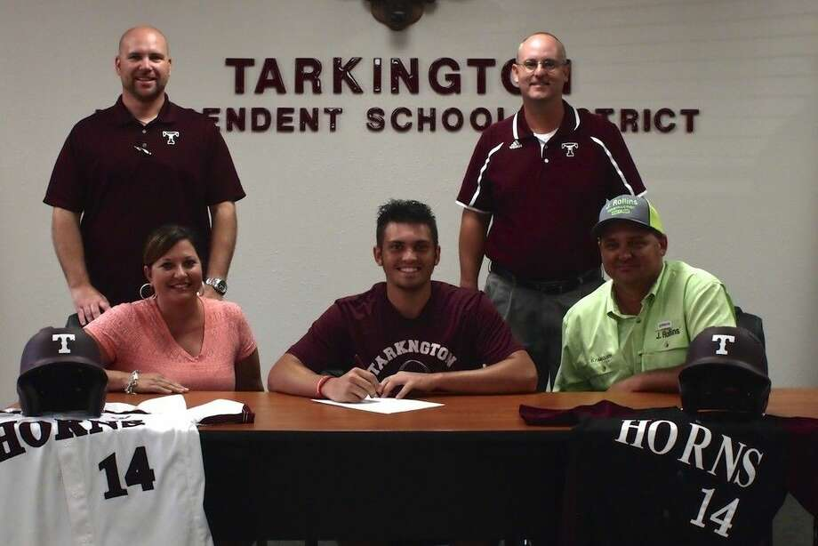Tarkington High School is sending another baseball player off to college. Dylan Faircloth has signed to play next year for Texas A&M at Texarkana. Seated with Dylan here are his parents, Rhonda and Dustin Faircloth, and standing, at left, is Tarkington Athletic Director Brandon Carpenter and Head Baseball Coach Ken McCarther, July 16, 2015. Photo: Casey Stinnett