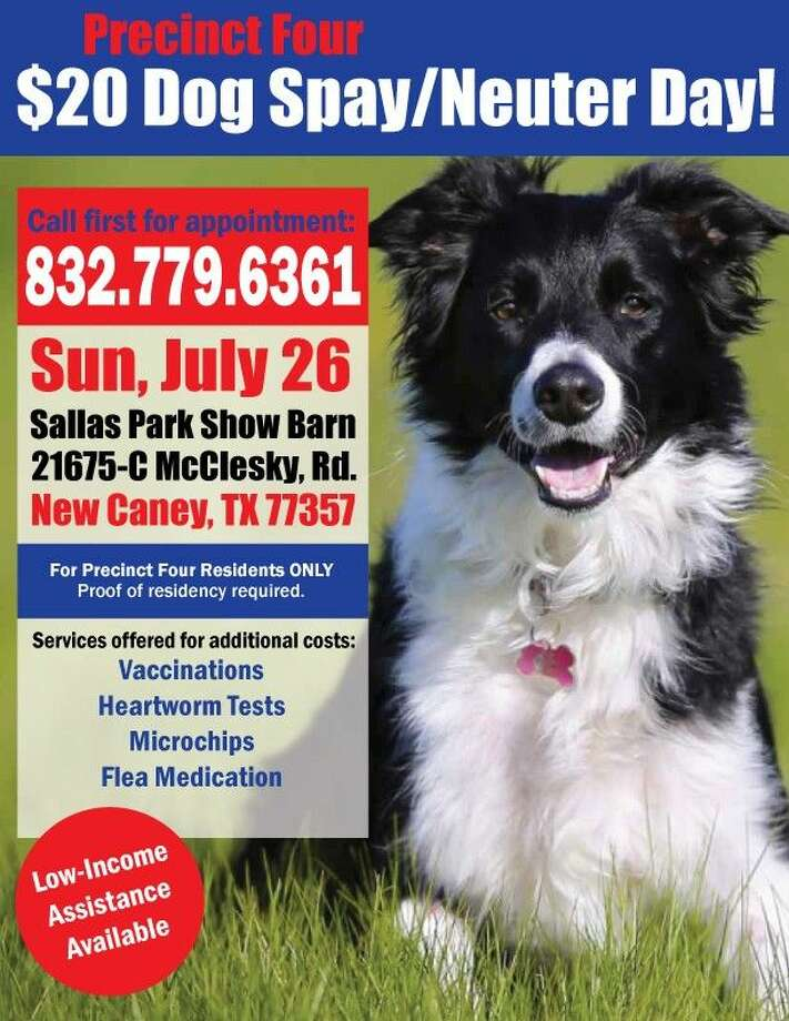 The Montgomery County Spay Neuter Task Force will sponsor the $20 Dog Spay/Neuter Day for the community July 26 at the Bull Sallas Park Show Barn.