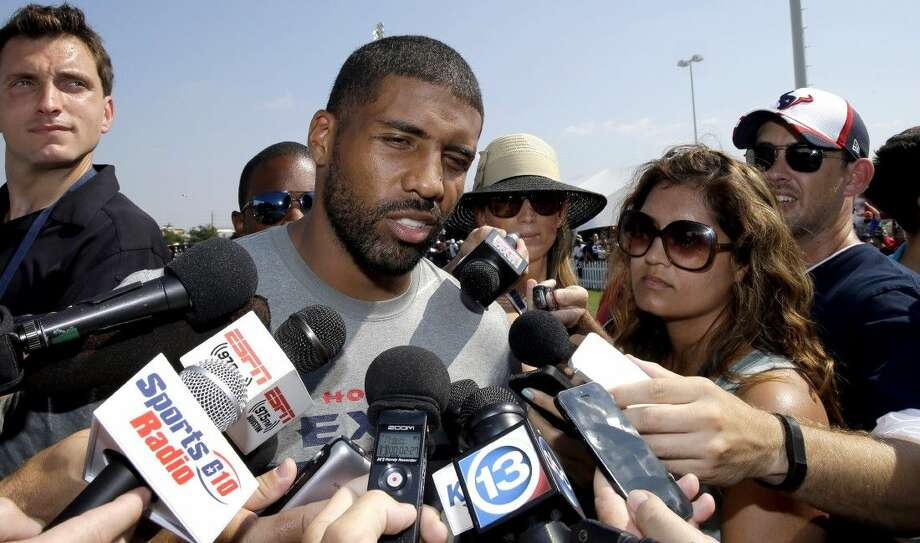 Houston Texans running back Arian Foster after practice Thursday in Houston.