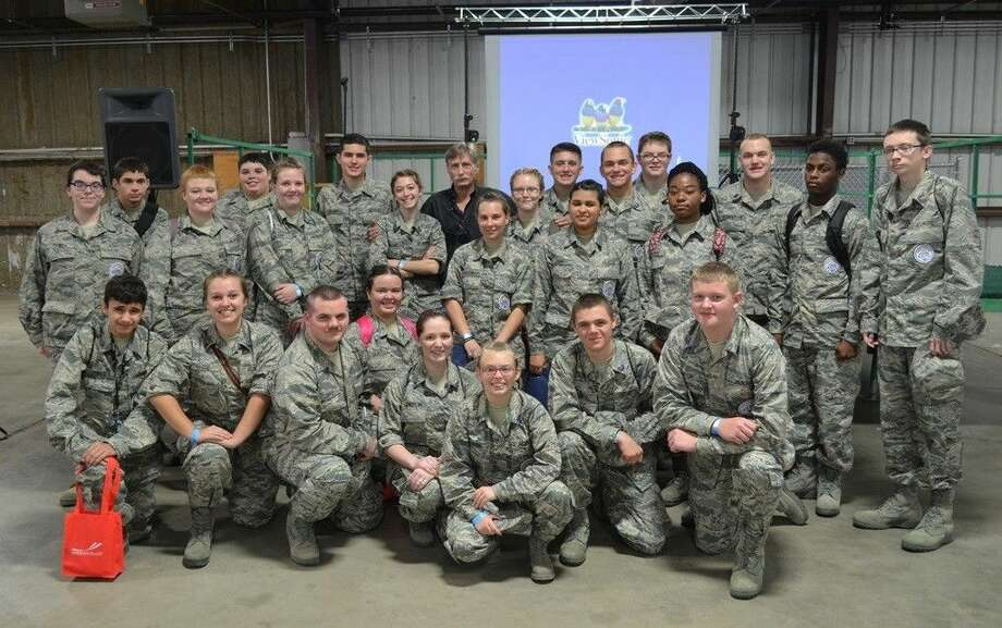 """COHS AFJROTC cadets pose with Kevin Lacey, (back row — center), from the reality TV show """"Airplane Repo."""" Photo: Submitted"""