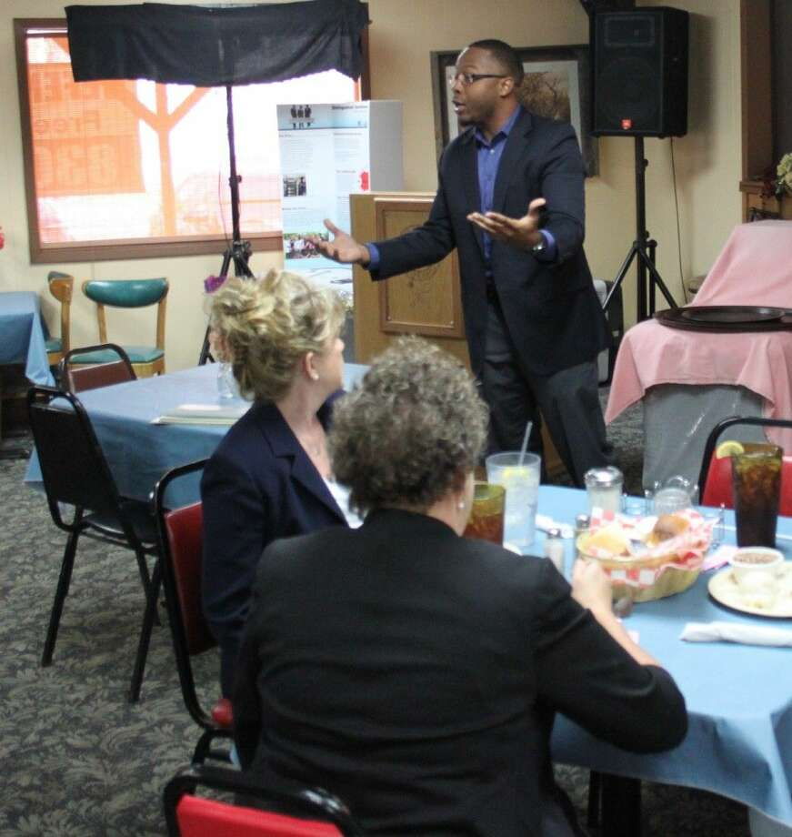Brandon Roberts of the Distinguished Gentlemen Leadership Group gives a presentation on the organization's activities before the Coldspring/San Jacinto County Chamber Luncheon. Photo: Jacob McAdams