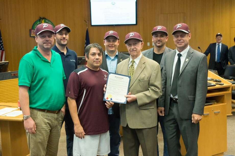 Mayor Tom Reid and the Pearland City Council recently honored the coaches, players and families of the World Series bound little league team. Photo: Courtesy City Of Pearland