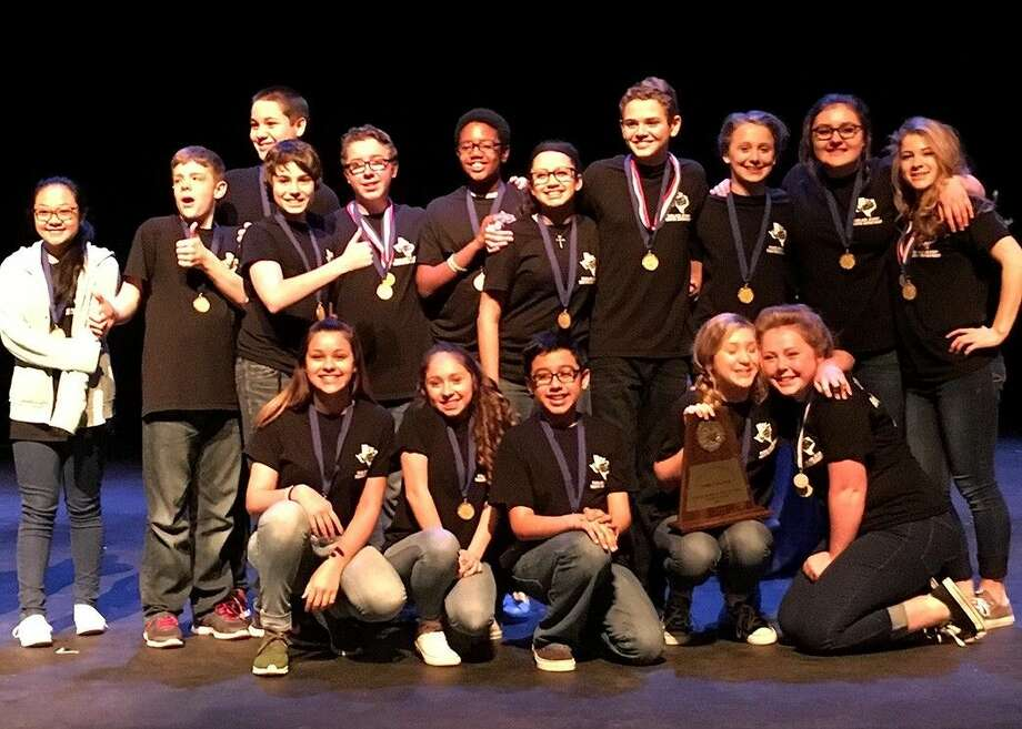 """Pearland Junior High East students won Best Play for their performance of """"Pygmalion"""" during the Pearland ISD Junior High University Interscholastic League One-Act Play Competition."""