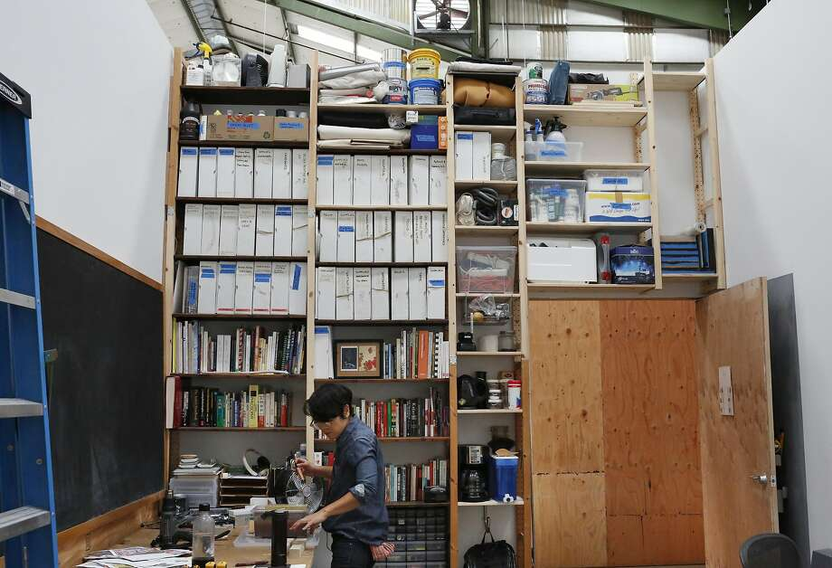 Interdisciplinary artist Masako Miyazaki works in her studio in the Minnesota Street Project, where Adobe subsidizes space in hopes of improving software. Photo: Leah Millis, The Chronicle