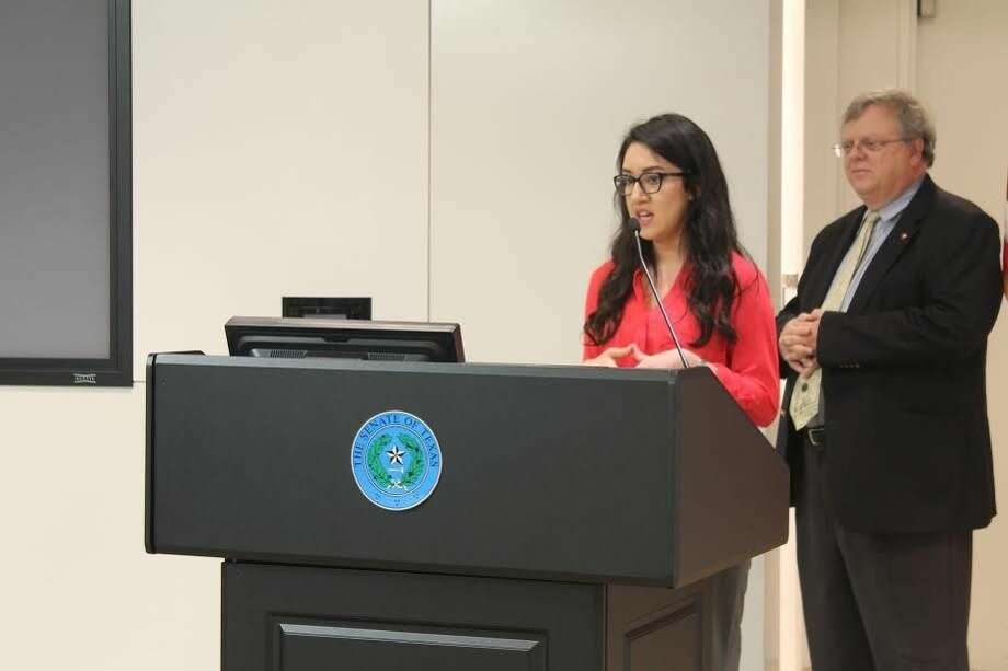 CyFair ISD student Kathy Guerra speaks about SB 1004 helping to prepare her for college. Photo: Taelor Smith