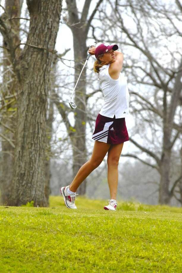 Magnolia golfer Ava Schwienteck. The Magnolia Lady Bulldogs won their second consecutive district championship at River Ridge Golf Course March 22. Photo: Tony Gaines