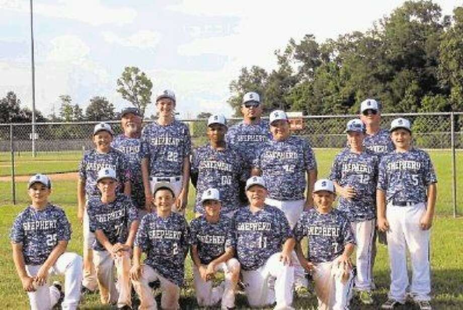 """The Shepherd Youth League Boys Majors All-Stars team may have lost at the state tournament, but they had a good season overall. Pictured are (back row) Manager Daniel Brown, Coach """"Lil Man"""" Wilson, Coach Beau Roberts; (middle row) Dylan Brown, Bradly Davis, Keenan Turner, Anthony Divilla, Jordan Wilson, Jacob Arrendal; (front row) Jacob Kimbrough, Zane Hodge, Clint Shoppe, Samuel Stokley, Reese Roberts and Wyatt Penton. Photo: Submitted"""