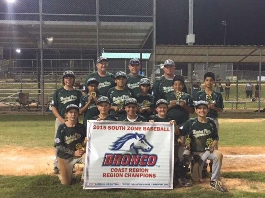 The Meadows Place PONY Baseball Bronco Division All-Star Team finished undefeated at the South Zone Coast Regional Championship in Conroe. Pictured are (front row, from left) Kason Hiatt, Brayton Cardwell, Omar Velasco, Sean Conroy, Canon King, (middle row) Nick Garza, Ishan Mehta, Ricardo Ayala, Adrian Vargas, Clemente Barrera, Rushil Mehta, (back row) Coach Tim Conroy, Manager Travis Cardwell and Coach Roy King. Jeff Tevis is not pictured. Photo: Submitted Photo