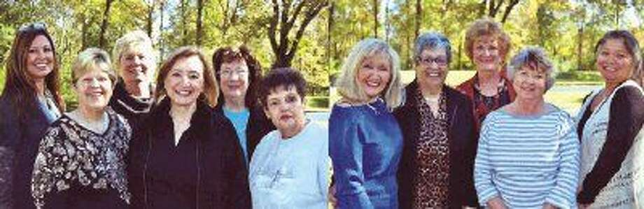 "Hi Neighbor Club - Kingwood board members recently met at the home of Francesca and K. Franks at their ""Rollin' K Ranch"" in Cleveland. Pictured from left to right are Karen Lombardo, treasurer; Debbie Campbell, president; Mary Ann Lapeze, special events; Judy Miles, 1st vice president; Margie Nicolai, membership chair; Susan Soderquist, reservations; Francesca Fowler, historian and photographer; Claire Garrett, door prizes chairperson; Kay Caffey, publicity; Lee Ann Sprick, programs and Cheryl Daciek, door prizes co-chair."
