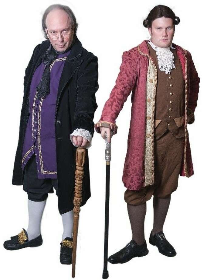 Pictured from left are Sean Thompson (Benjamin Franklin) and Taylor Fisher (John Adams). Photo: Audree Garcia