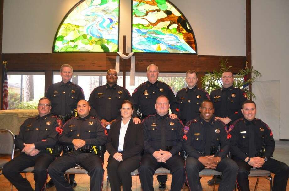 Top row from left to right : Captain Toby Hecker, Chief Deputy Donald Steward, Constable Mark Herman, Asst. Chief Michael Combest, and Captain James Blackledge. Bottom row sitting from left to right : Lieutenant Chris Nicholson, Lieutenant Danny Garza, Asst. Chief Clerk Kim Colley, Lieutenant Jonathan Zitzmann, Sergeant Marcus Sam, and Sergeant Anthony Sebastian