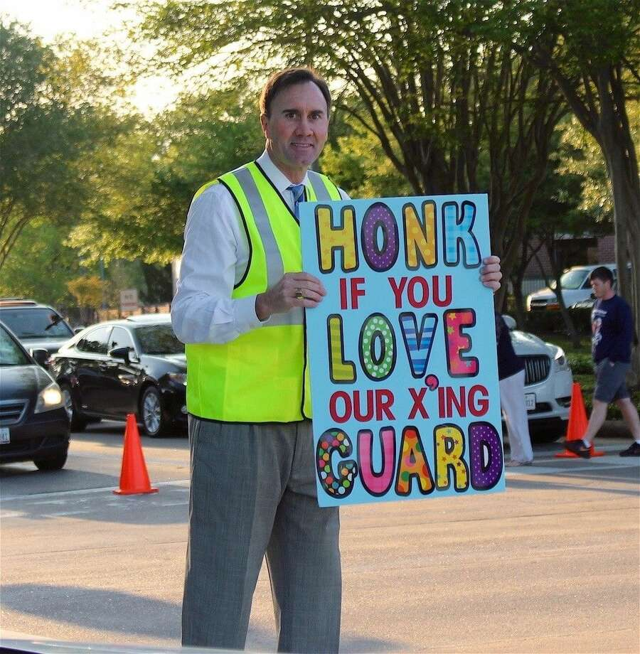 Parents dropping off their kids at Silverlake Elementary Monday might have seen Congressman Pete Olson (R-Sugar Land) at the intersection of Northfork and County Road 90. Olson was there to show support for school crossing guards.