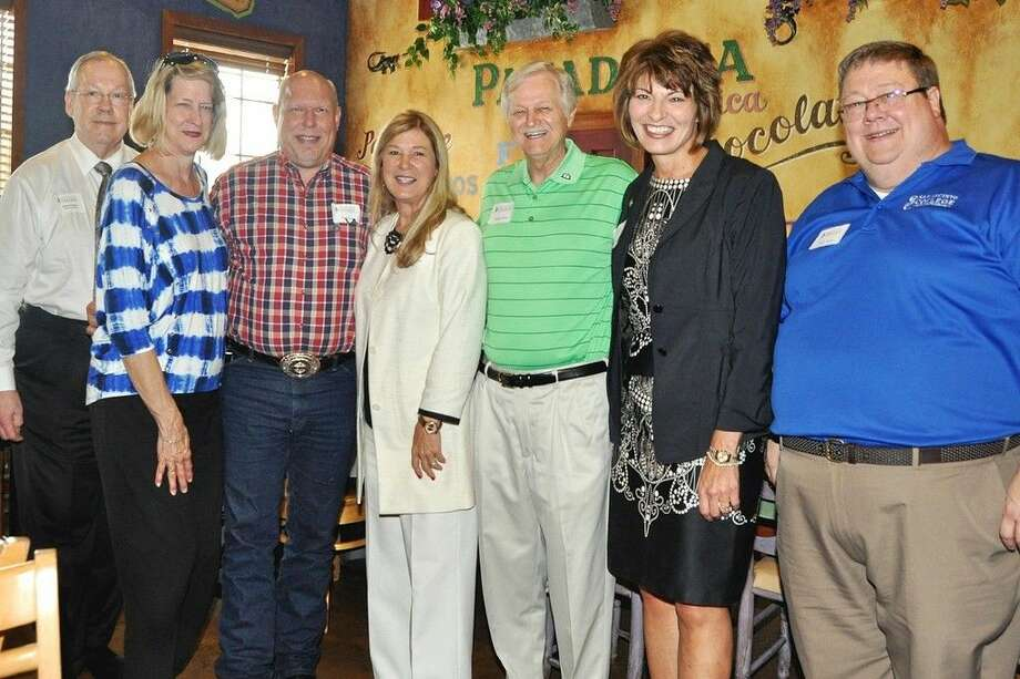 Pictured, (left to right) are James Guthrie, member of the San Jacinto College Foundation Board of Directors; Pam Guthrie, wife of James Guthrie; Don Spies, coordinator of San Jacinto College campus services; Ruth Keenan, executive director of the San Jacinto College Foundation; Dr. Charles Grant, chair of the San Jacinto College Alumni Association Advisory Committee; Dr. Brenda Hellyer, Chancellor of San Jacinto College; and Dr. Eddie Weller, director of the San Jacinto College Honors Program. Photo credit: Jackie Welch, member of the San Jacinto College Foundation Board of Directors.
