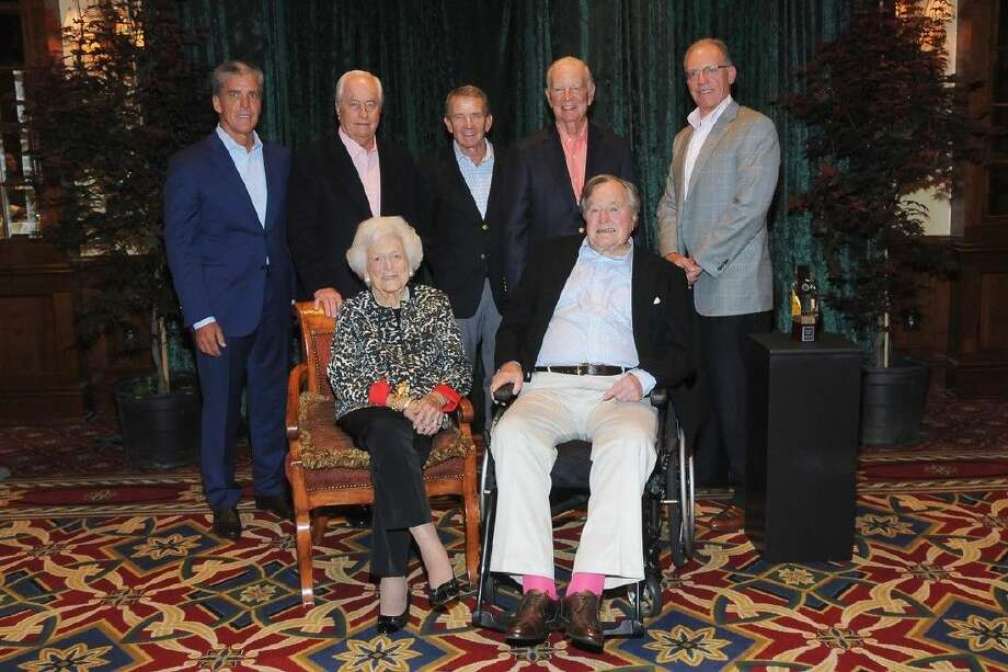 L-R back: Marvin Odum, Roger Penske, PGA TOUR Commissioner Tim Finchem, Secretary James A. Baker III. L-R front: Former First Lady Barbara Bush and President George H.W. Bush