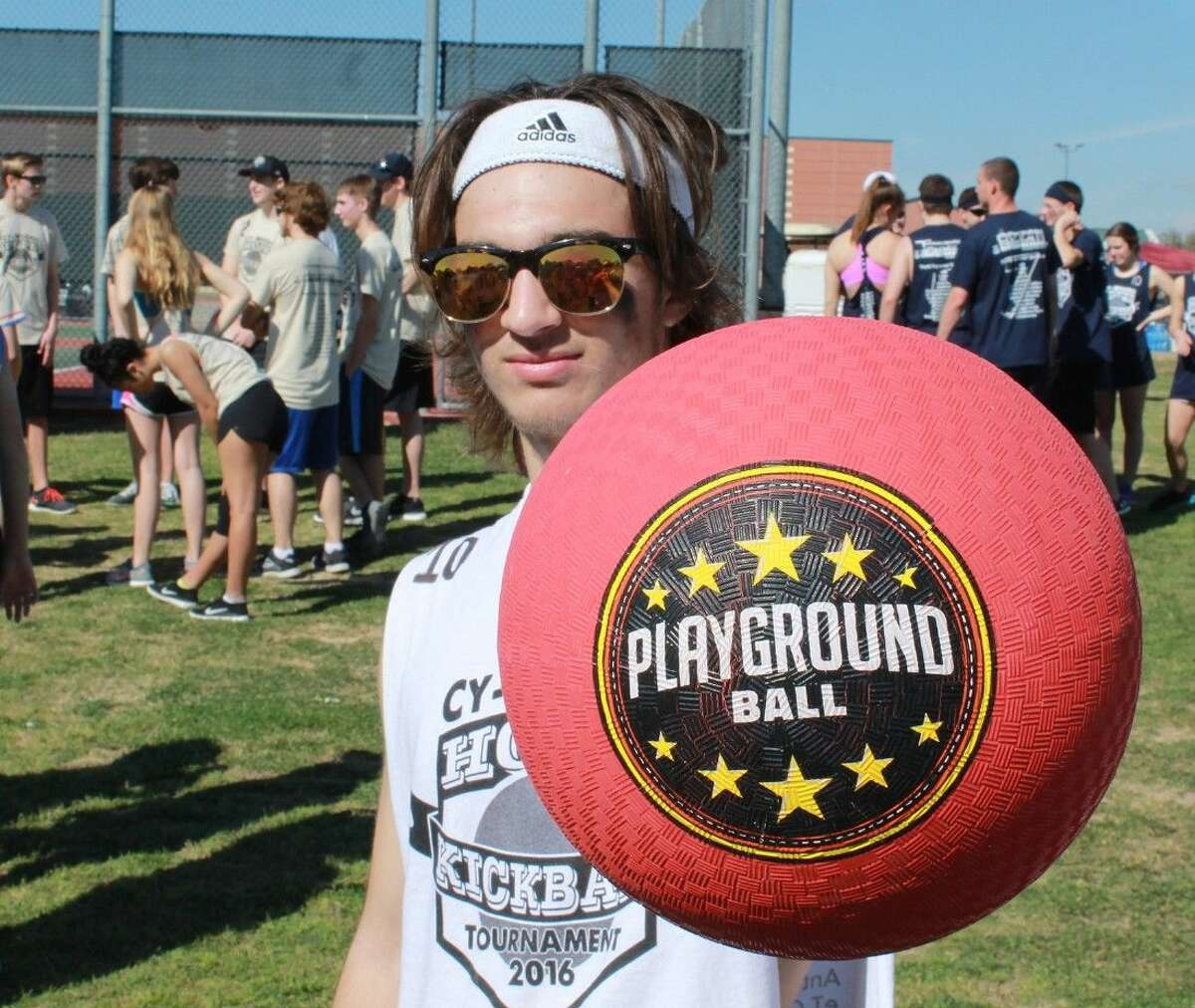 Cypress Woods High School junior Kyle Rovello gets ready to play some kickball at the school's eighth annual charity kickball tournament on March 5.