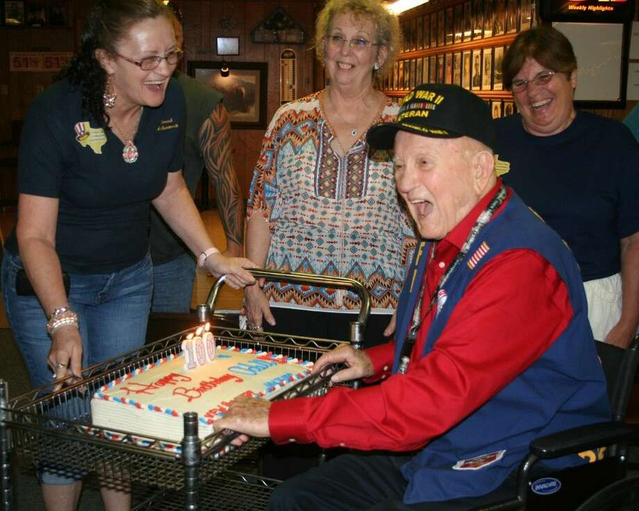 World War II veteran Verner Odell Lathrop celebrated his 100th birthday at VFW Post 1939 on Saturday, July 18. Photo: Stephanie Buckner