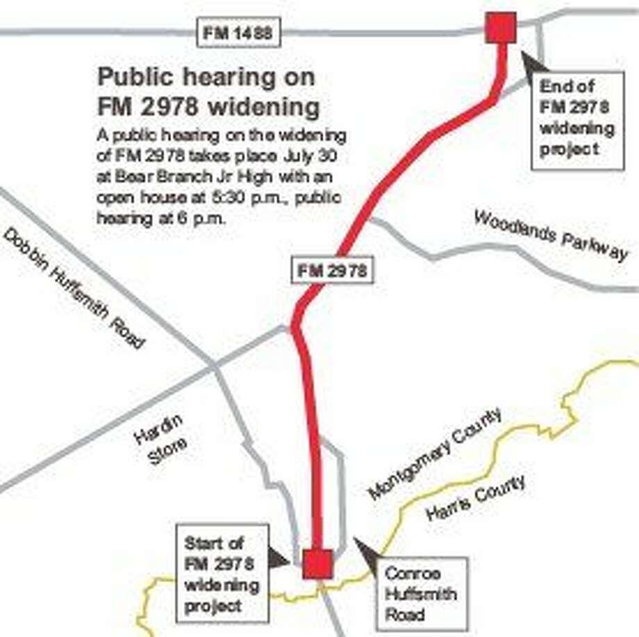 TxDOT to host public hearings on FM 2978 widening