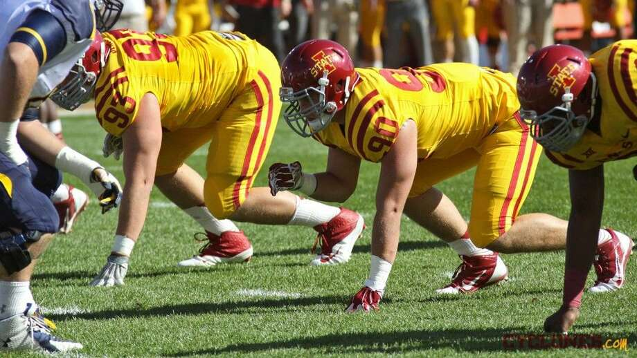 Iowa State redshirt-junior Mitchell Meyers (90) lines up in a game earlier in his career with the Cyclone. The Woodlands native has been battling Non-Hodgkin lymphoma since January.