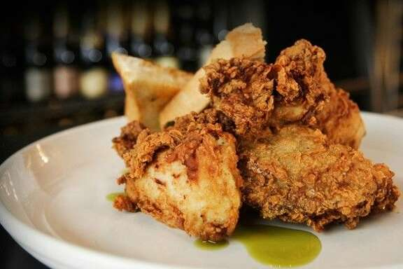 "Max's Wine Dives fried chicken is marinated in a spicy and delicious jalapeño-buttermilk, breaded in a seasoned flour and deep fried ""low and slow,"" which is different from many other fried chicken recipes."