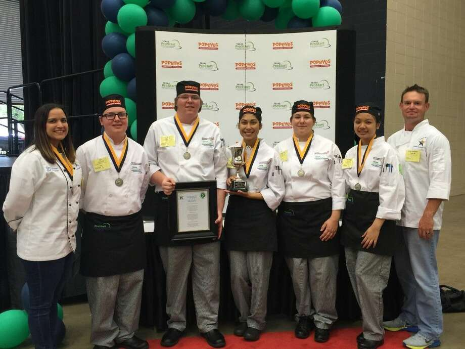 Pictured (l to r) are CCISD Culinary Art Teacher Chef Kathleen Roussel, culinary students Ian Moseley, Shawn Dalton, Monica Escobedo, Samantha Macey, Michelle Tang and Chef Tate Roussel.