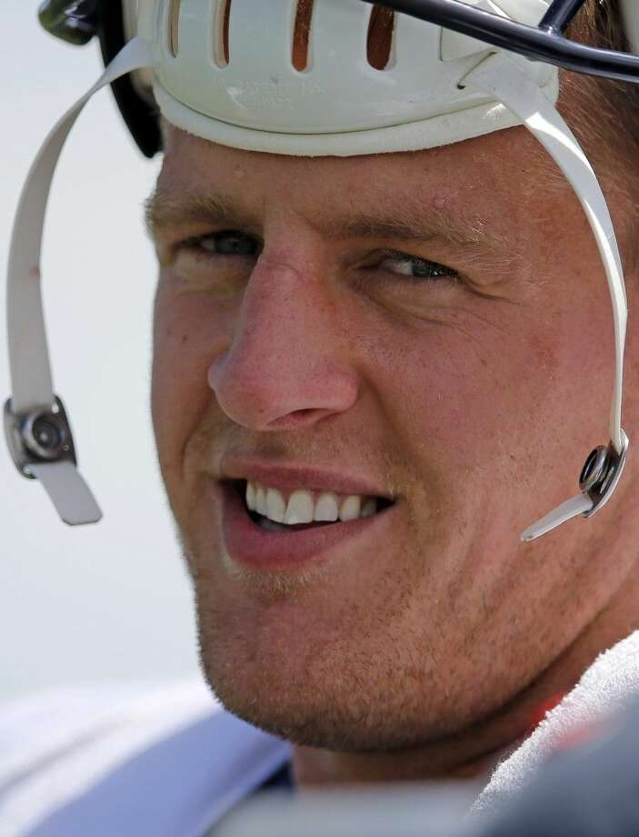 Houston Texans defensive end J.J. Watt after a joint practice with the Denver Broncos on Tuesday in Englewood, Colo.