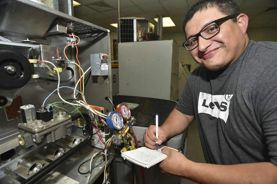 San Jacinto College student Isaias Tristan found new direction and a rewarding career path in the College's Heating, Ventilation, Air Conditioning, and Refrigeration program. Photo credit: Rob Vanya, San Jacinto College marketing, public relations, and government affairs department.