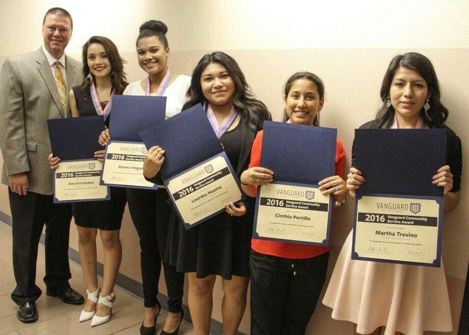 Lewis Career and Technical High School (from left): Ana Fernandez, Aurora Hogan, Lourdes Huerta, Cinthia Portillo, and Martha Trevino. Also pictured: school principal Steven Fleming.