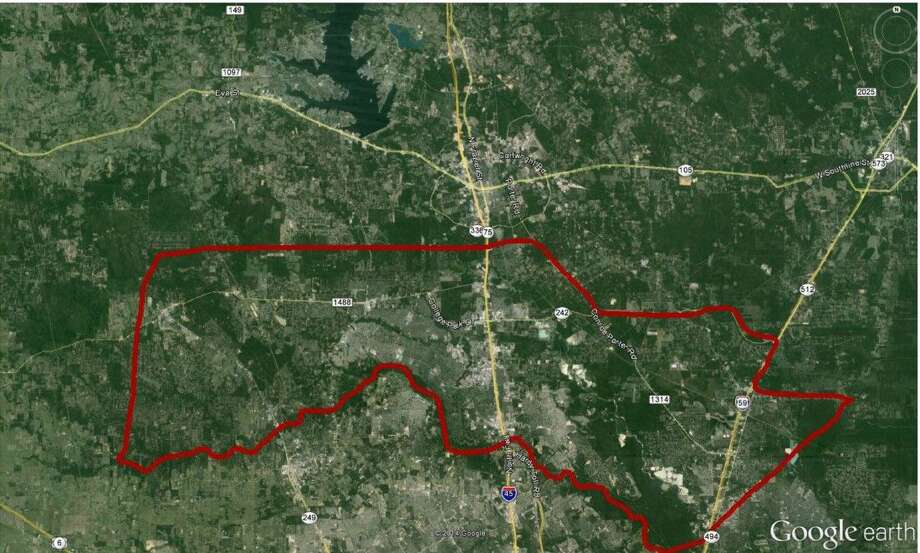 Montgomery County will begin spraying for mosquitos Aug. 23 in the area outlined in red. Photo: Submitted