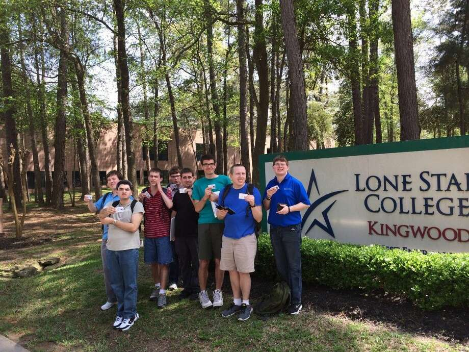 """LSC-Kingwood and Including Kids teamed up to offer the Including Stars program at the college. Pictured are students from the inaugural class """"College 101"""" in spring 2015: Chris Sandy, Daniel Seale, Bill Kelly, Scott Sostack, Ryan Schertz, Matthew Fisher, Rustin Keel and Patrick Sostack."""