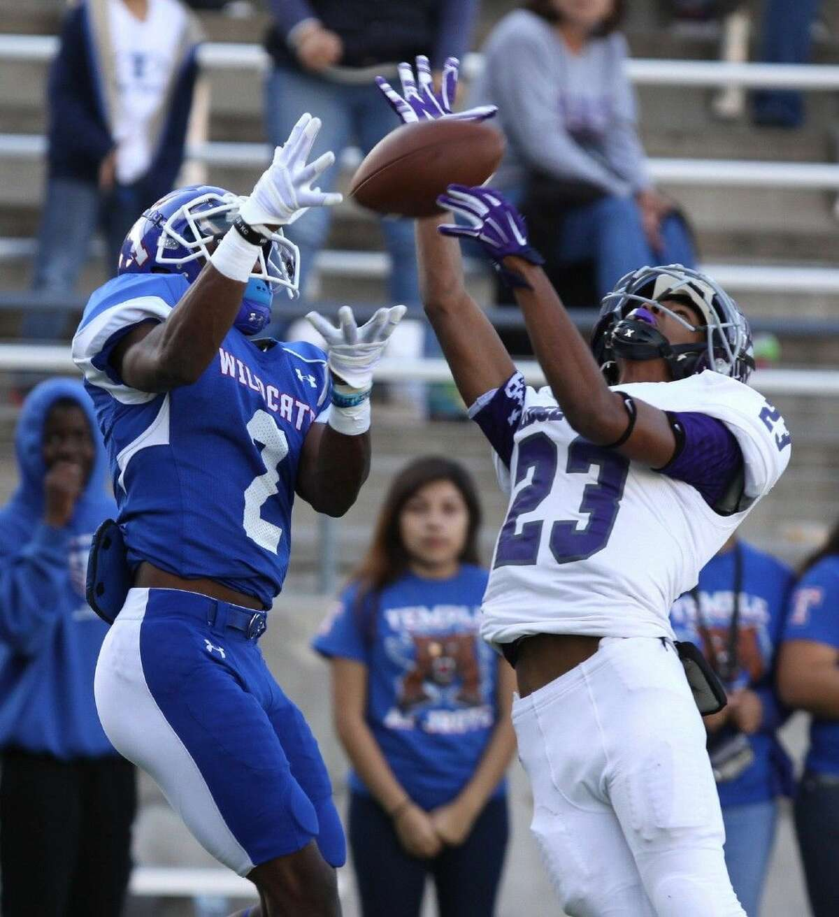 Ridge Point's Shyler Staton breaks up a pass to Temple's Aaron Freeman, Nov. 28 at Berry Center Stadium in Cypress.