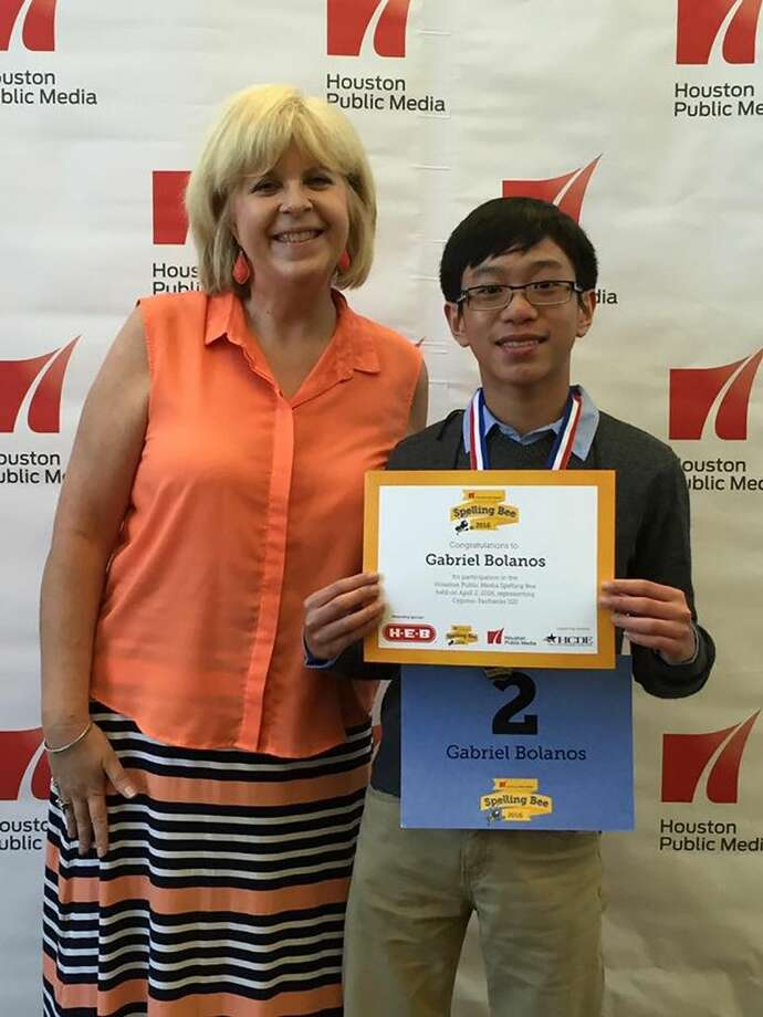 Aragon Middle School seventh-grade student Gabriel Bolanos, pictured with language arts/reading teacher and school Spelling Bee coordinator Teri Tidmore, placed fourth overall at the Houston Public Media Spelling Bee on April 2.