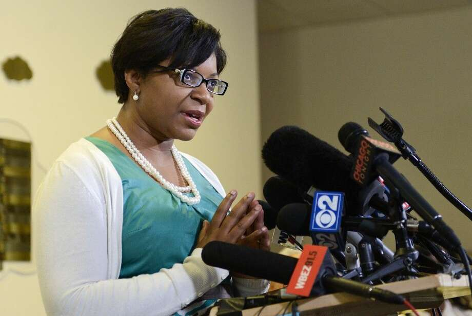 Sharon Cooper, sister of Sharon Bland, addresses the media during a news conference at Dupage African Methodist Episcopal Church on Wednesday, July 22, 2015, in Lisle, Ill. Bland was arrested and taken to the Waller County jail, about 60 miles (100 kilometers) northwest of Houston on July 10 and found dead July 13. Officials say Bland hanged herself with a plastic garbage bag in her jail cell, a contention her family and supporters dispute. (AP Photo/Matt Marton) Photo: Matt Marton
