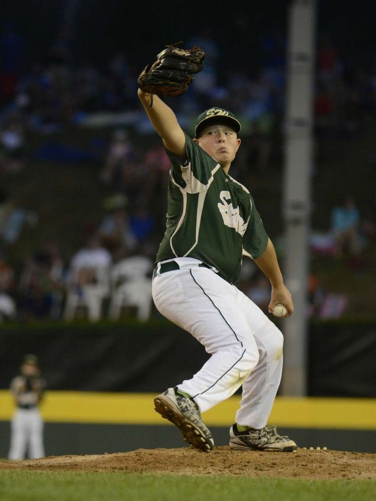 Southwest starting pitcher Walter Maeker III (21) in Tuesday's Little League World Series game in Williamsport, Pa. on August 19, 2014. (Ralph Wilson)