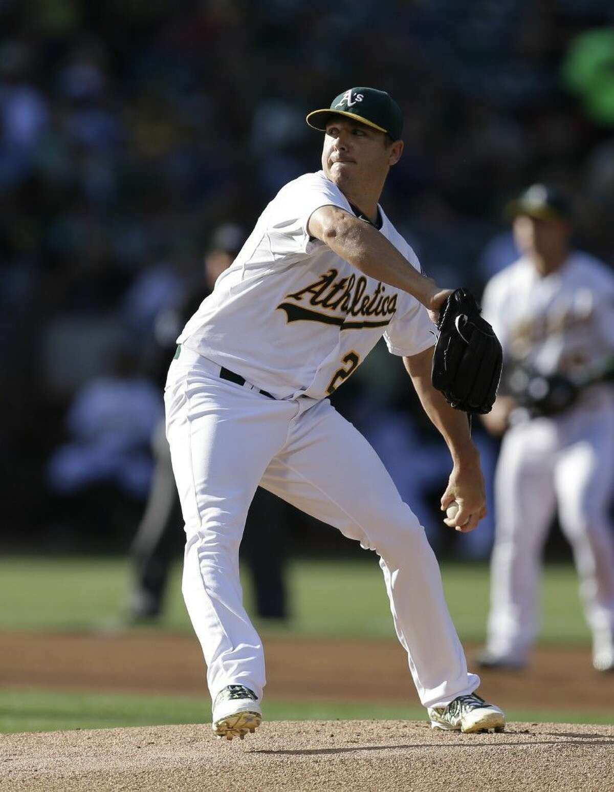 The Houston Astros traded for Oakland A's left-handed pitcher Scott Kazmir, shown here pitching against the Minnesota Twins last Saturday, Thursday afternoon.